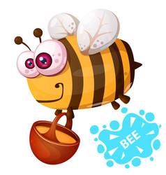 Crazy bee - cartoon character vector