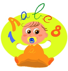 cute baby with letters vector image