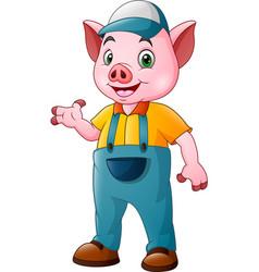 cute farmer pig cartoon vector image