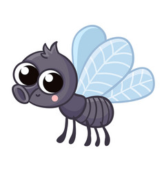 Cute gray fly with insect on vector