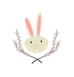 cute white easter bunny head with willow twigs vector image