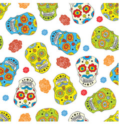 Day of the dead seamless pattern handdrawn sugar vector