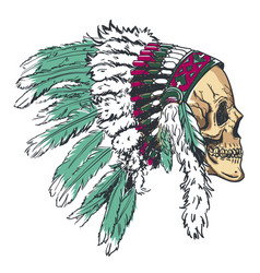 Dotwork style skull with indian feather hat vector