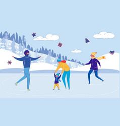 Family cartoon characters skating on skate rink vector