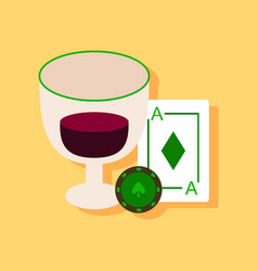 Flat icon design collection ace chip poker cup vector