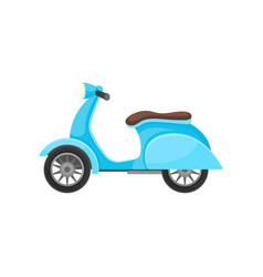 flat icon of blue scooter with brown seat vector image