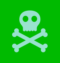 Flat icon stylish background halloween skull bones vector