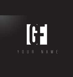 gf letter logo with black and white negative vector image