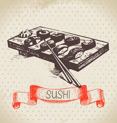 Hand drawn vintage sushi background vector image