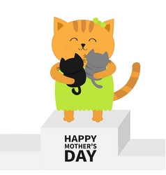 happy mothers day cat hugging bakitten kittens vector image