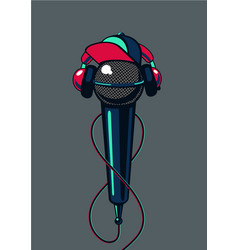 Hip hop microphone with cap on isolated background vector