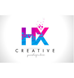 hx h x letter logo with shattered broken blue vector image