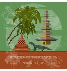 Indonesia landmarks Retro styled image vector image