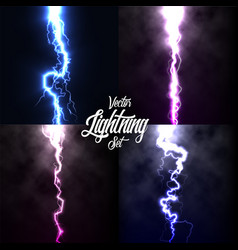 Lightning flash light thunder spark on black vector