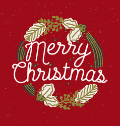 merry christmas inscription handwritten with vector image