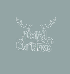 merry christmas lettering design with deer horn vector image