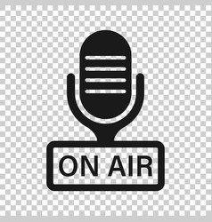Microphone icon in transparent style live vector