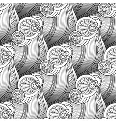 Monochrome wave seamless pattern vector