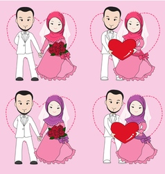 Muslim wedding couple vector