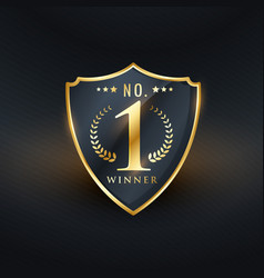 no 1 winner badge label golden design vector image