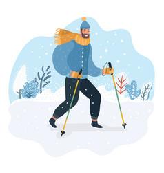 nordic walker in funny hat bubo vector image