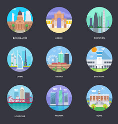 Pack of world cities 4 vector