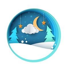 paper night fir moon cloud snow vector image