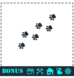 Paw icon flat vector