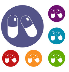 pills icons set vector image