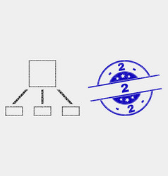 Pixel hierarchy icon and distress 2 stamp vector