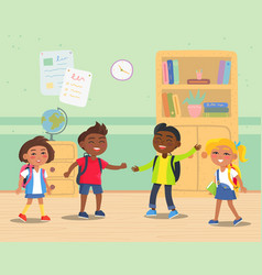 primary school kids with backpacks in classroom vector image