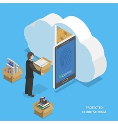 Protected cloud storage flat isometric vector image