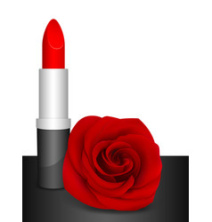 Red lipstick and red rose vector