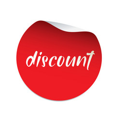red sticker discount banner and logo vector image