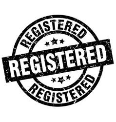 registered round grunge black stamp vector image