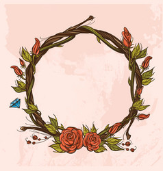 Round vintage frame made of branches with roses vector