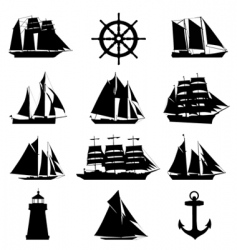 sailing design elements vector image