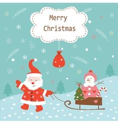 Santa and snowman vector