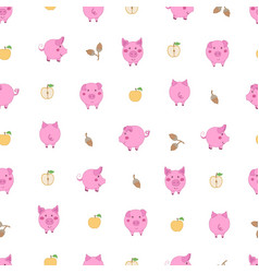 Seamless pattern with small cartoon pink pigs vector