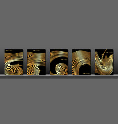 set black cover abstract fluid golden striped vector image