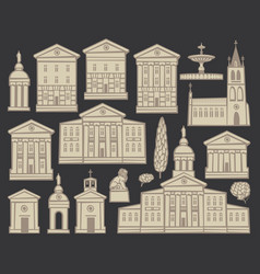 Set drawings houses and churches in cities vector
