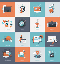 set flat design concept icons for business vector image