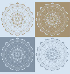 set of 4 decorative mandalas with floral ornaments vector image