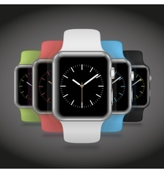 Set of 5 modern shiny sport smart watches with vector image