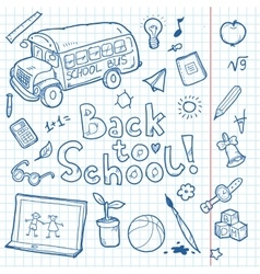 Set of doodle back to school elements vector