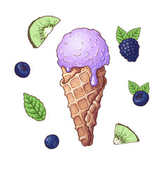 set of ice cream with fruits including strawberry vector image