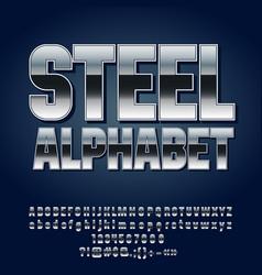 Set silver alphabet letters vector