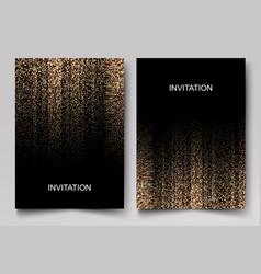 Set wedding invitation cards design gold vector