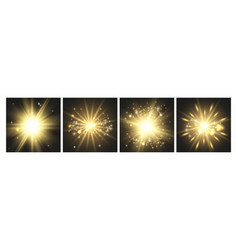 shining lights gold cards glowing effects vector image
