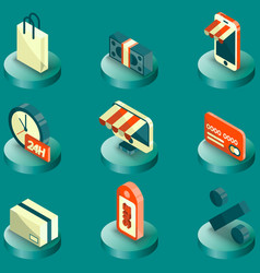 shopping color isometric icons vector image